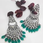 Silver toned and Green drop earrings