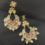 Meenakari pearl drop earrings