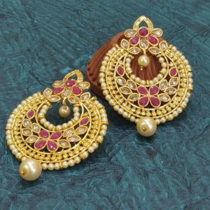 Chandbalis with pink stones earrings