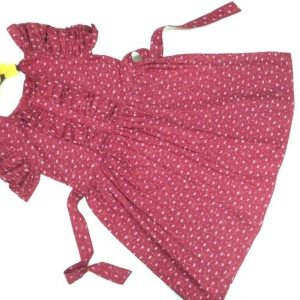 Girls Dotted Maroon Flared Cotton Frock