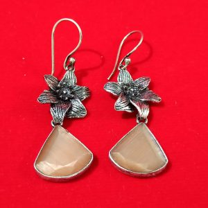 Dangling Semi precious biscuit colour stone  earrings – Hook Type