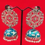 Antique Blue Enamel Jhumki