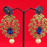 Antique Golden Earring with Blue Stone