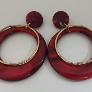 Big Red Round Earrings