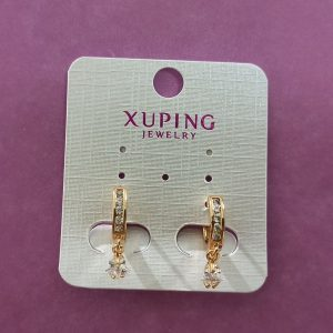 High Quality Gold Polish Earrings with Dangling Stone