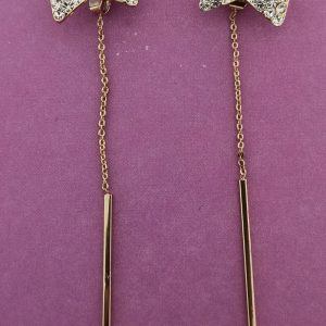 Bow Stud With Long Dangling Chain Earrings