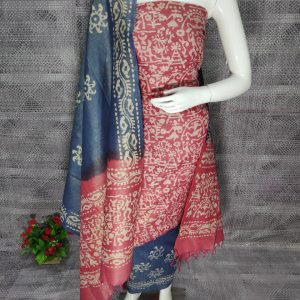 Khadi Cotton Printed Dress Material, Red and Blue