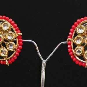 Red Beaded Kundan Big Fancy Studs