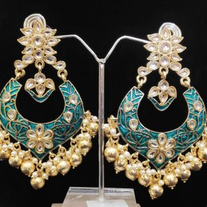 Festive meenakari sea green earring