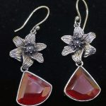 Dangling Semi precious maroon  stone  earrings – Hook Type